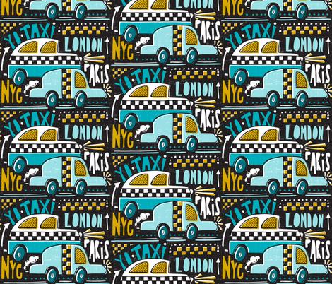 Yo Taxi - Black & Aqua fabric by heatherdutton on Spoonflower - custom fabric