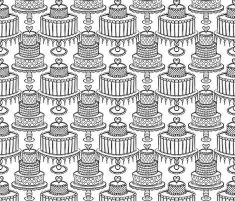 time for cake black and white fabric by beesocks on Spoonflower - custom fabric