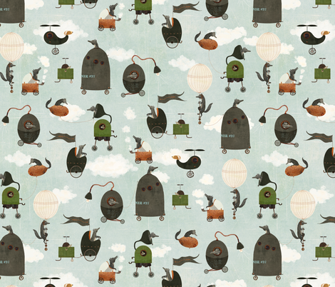 Wheels and Wolves fabric by katherine_quinn on Spoonflower - custom fabric