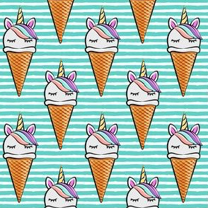 unicorn icecream cones - unicones on teal stripes