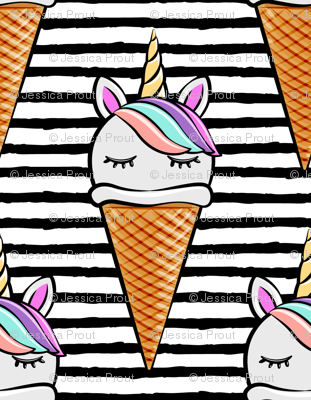 unicorn icecream cones - unicones on black stripes