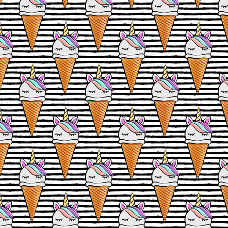 unicorn icecream cones - unicones on black stripes fabric by littlearrowdesign on Spoonflower - custom fabric