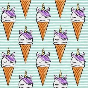 unicorn icecream cones - unicones - purple on aqua stripes