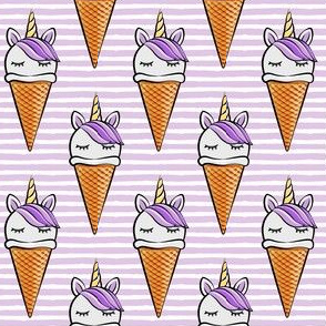 unicorn icecream cones - unicones - purple on purple stripes