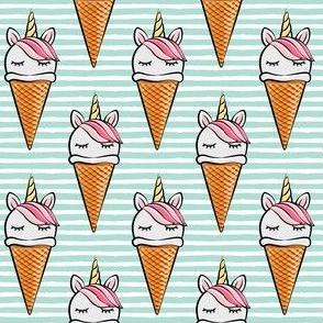 unicorn icecream cones - unicones - pink on aqua stripes