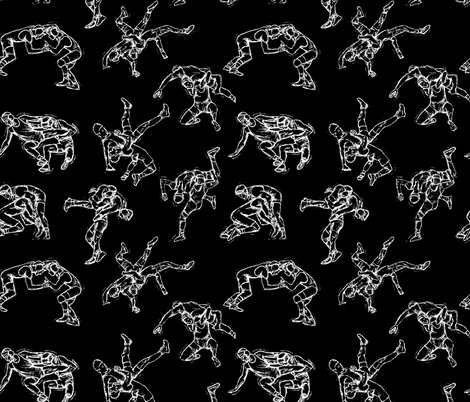 Wrestling Black & White fabric by #artbykarridi on Spoonflower - custom fabric