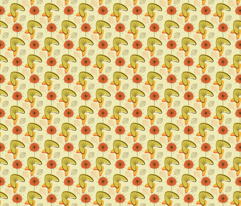 Fall mid-century boomerang fabric by roofdog_designs on Spoonflower - custom fabric