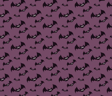 Midnight haunt—purple with black bats fabric by roofdog_designs on Spoonflower - custom fabric