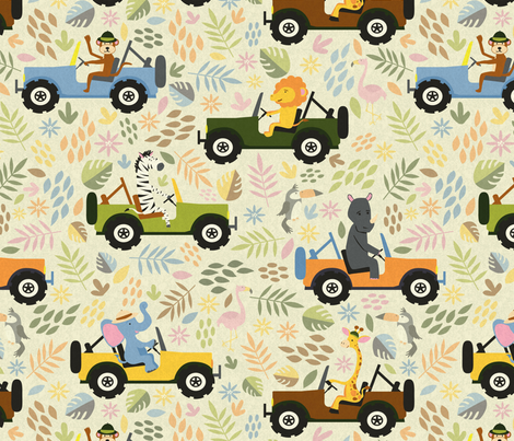 Animals on Safari - light fabric by diseminger on Spoonflower - custom fabric