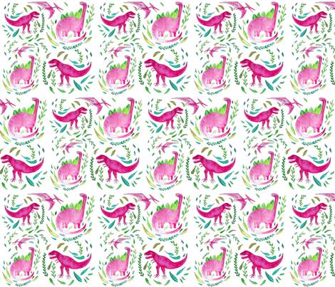 Pink dinosaur fabric by nor_wegen_liebe_ on Spoonflower - custom fabric