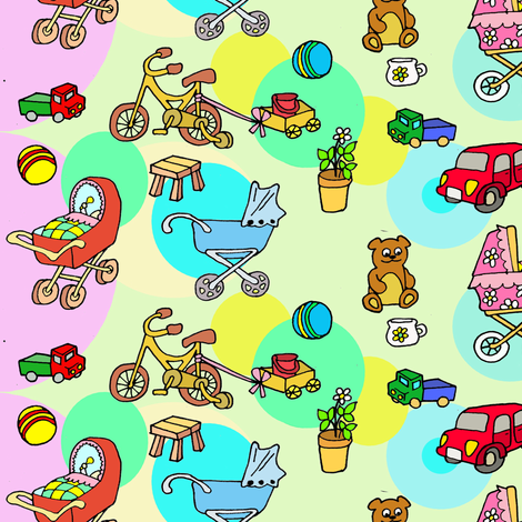 Childhood wheels, toys and games fabric by palusalu on Spoonflower - custom fabric