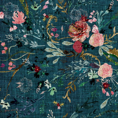 Fable floral (teal) MED fabric by nouveau_bohemian on Spoonflower - custom fabric