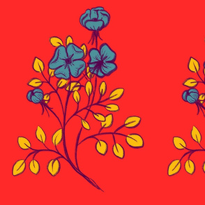 Sprig (teal & yellow)