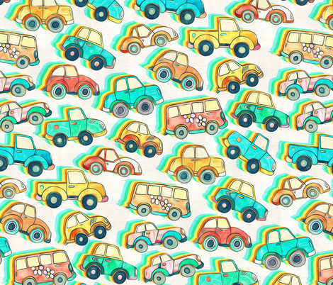 Lots of Little Cartoon Cars - large version fabric by micklyn on Spoonflower - custom fabric