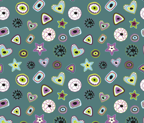 Lollipop_candyflowers_bluebg_seaml_cropped_spf fabric by matroshkadesign on Spoonflower - custom fabric