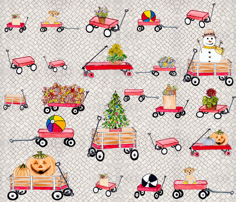 little red wagon parade FINAL fabric by florodoro on Spoonflower - custom fabric