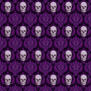purple damask and skull