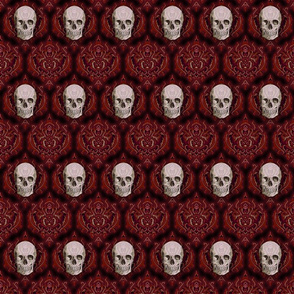 Red damask and skull