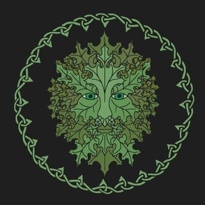 Green Man Celtic on Black