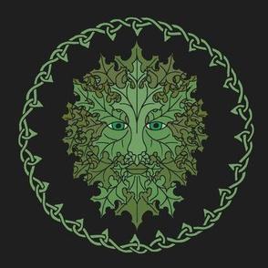 Green Man Celtic on Black