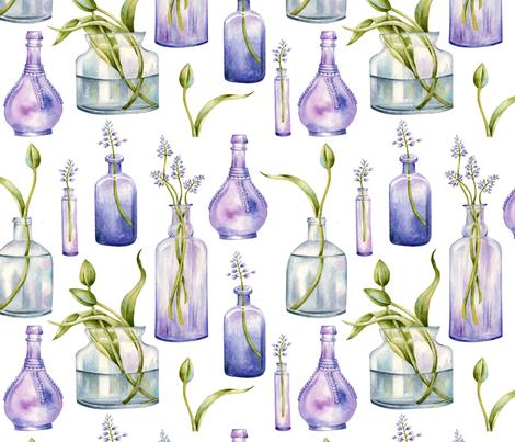 lavender bottles fabric by zeesidesigngarden on Spoonflower - custom fabric