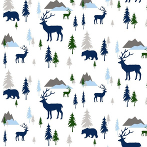 Bears and deer mountains forest baby blue