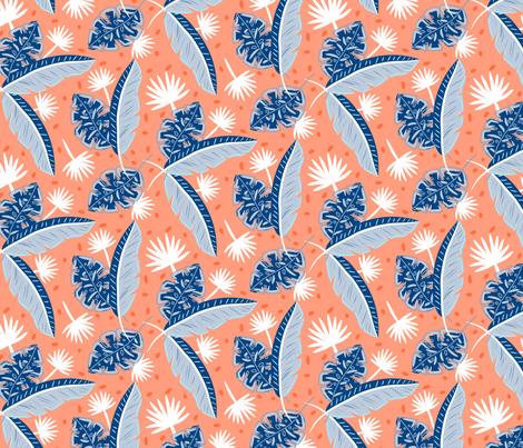 Blue plant leaves fabric by yopixart on Spoonflower - custom fabric