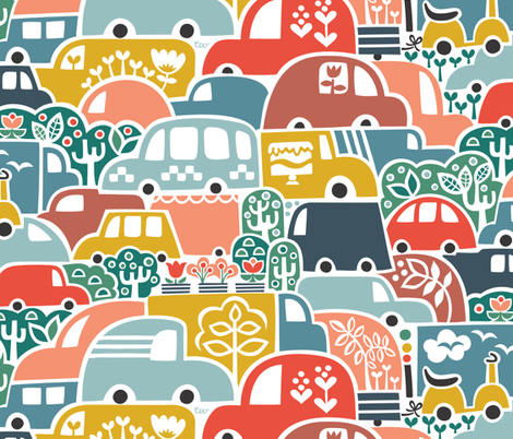 Happy Heavy Traffic fabric by studio_amelie on Spoonflower - custom fabric