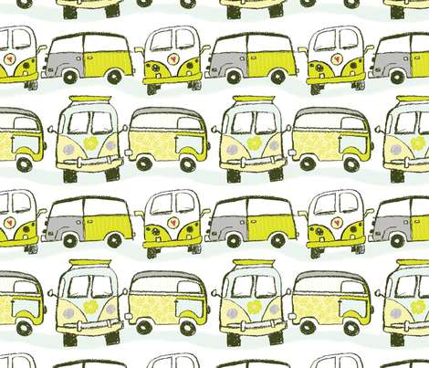VW_Bus_chartreuse fabric by bridgettstahlman on Spoonflower - custom fabric
