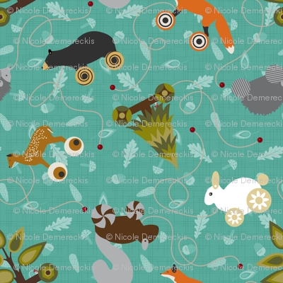 Woodland Forest Animals Pull Toys Sea Foam