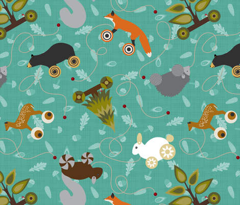 Woodland Forest Animals Pull Toys Sea Foam fabric by wickedrefined on Spoonflower - custom fabric