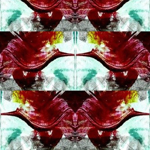 Dark crimson swish print reflected