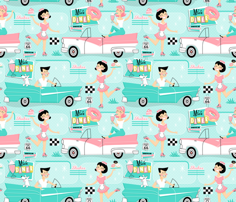 Retro American Diner fabric by mia_valdez on Spoonflower - custom fabric