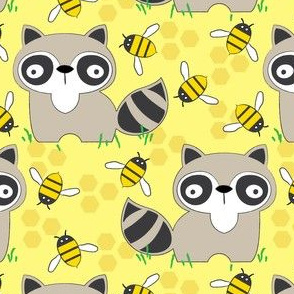 raccoons-with-bees-on-yellow