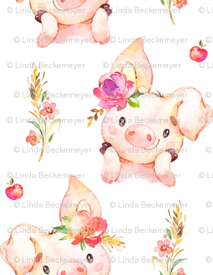 Miss Piglet - Baby Girl Pig with Flowers & Apples