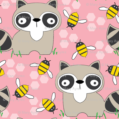 raccoons-with-bees-on-pink