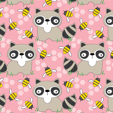raccoons-with-bees-on-pink fabric by lilcubby on Spoonflower - custom fabric
