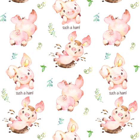 Such a Ham Piglet - Design for Children fabric by gingerlous on Spoonflower - custom fabric