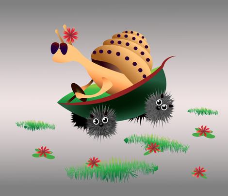 Fast snail fabric by inna_alborova on Spoonflower - custom fabric