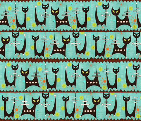 Space Age Atomic Cats fabric by little_bunny_sunshine on Spoonflower - custom fabric