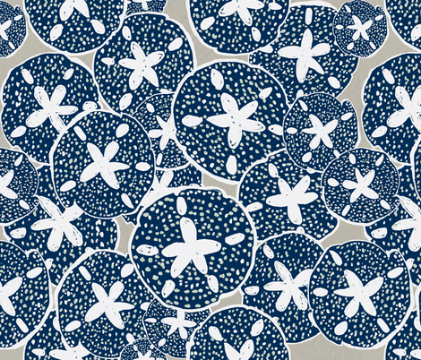 Sand Dollars on the Beach: Navy & Taupe fabric by lisakling on Spoonflower - custom fabric