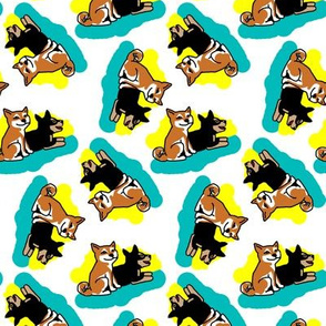 1950s Style Shiba Inu on Blue and Yellow