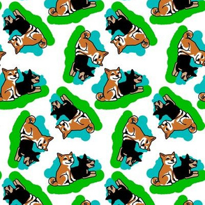 1950s Style Shiba Inu on Blue and Green