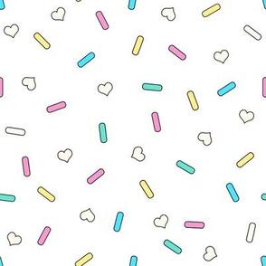 Heart Sprinkles White Medium