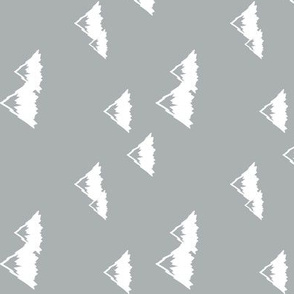 mountains - white on grey (northern lights collection) (90) C18BS