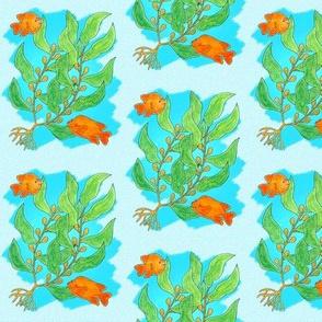 Sea Kelp and Garibaldi on Speckled Blue