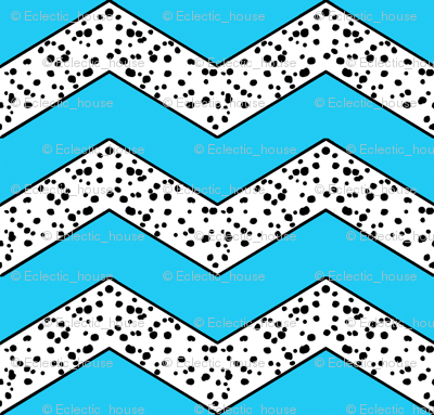 Dalmatian Chevrons on Blue