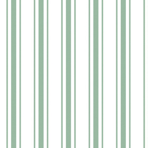 Mattress Ticking Wide Striped Pattern in Moss Green and White