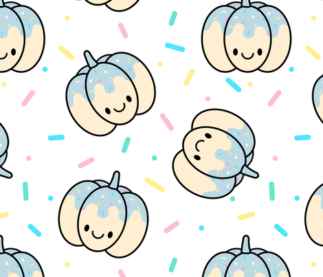 Pumpkin Blue Sprinkles on White Large fabric by sylviaoh on Spoonflower - custom fabric