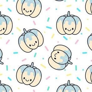 Pumpkin Blue Sprinkles on White Medium